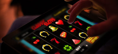 Online gambling Tablet with slots on it